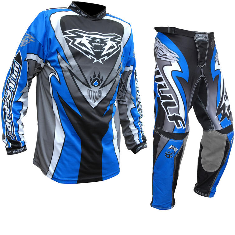 Wulf Attack Cub Motocross Jersey & Pants Blue Kit