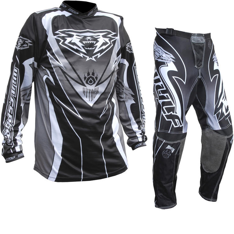 Wulf Attack Cub Motocross Jersey & Pants Black Kit