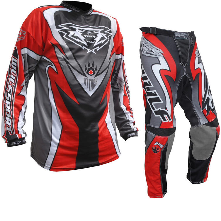 Wulf Attack Cub Motocross Jersey & Pants Red Kit