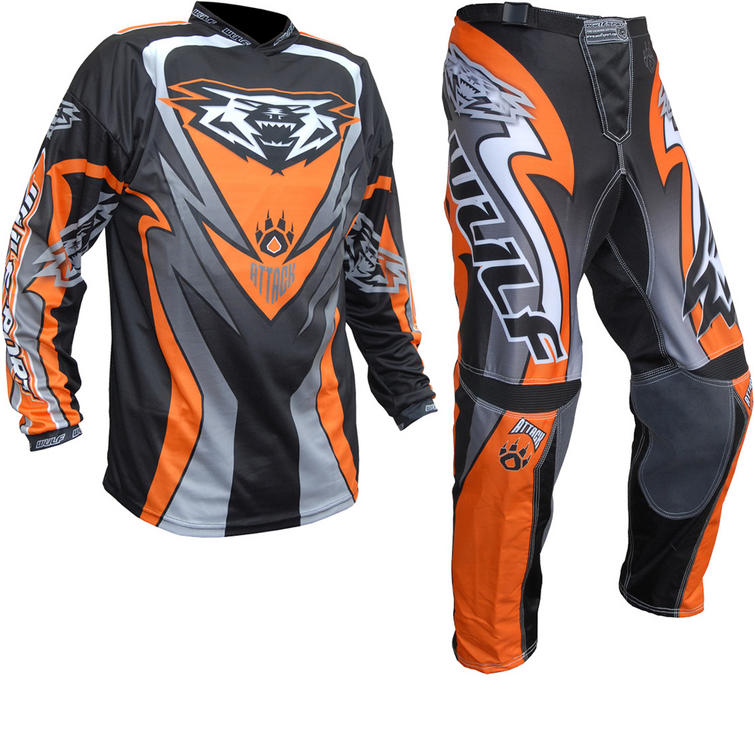 Wulf Attack Adult Motocross Jersey & Pants Orange Kit