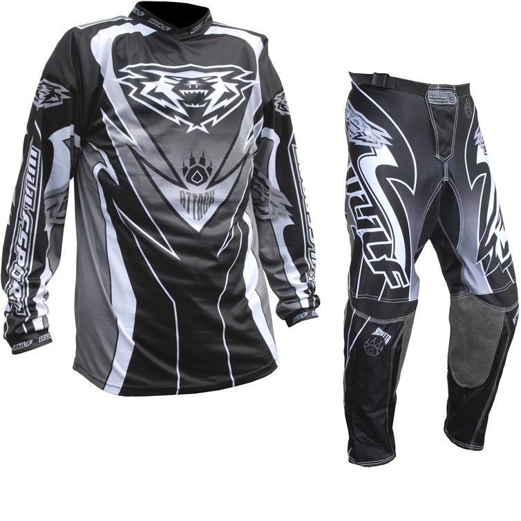 Wulf Attack Adult Motocross Jersey & Pants Black Kit