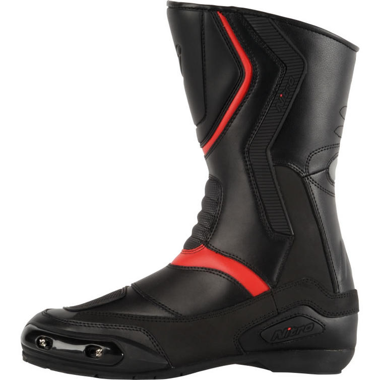 Mens nitro quot nb41 quot leather racing sports motorcycle boots black red
