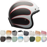 Bell Custom 500 Carbon Ace Cafe Ton Up Open Face Motorcycle Helmet & Visor