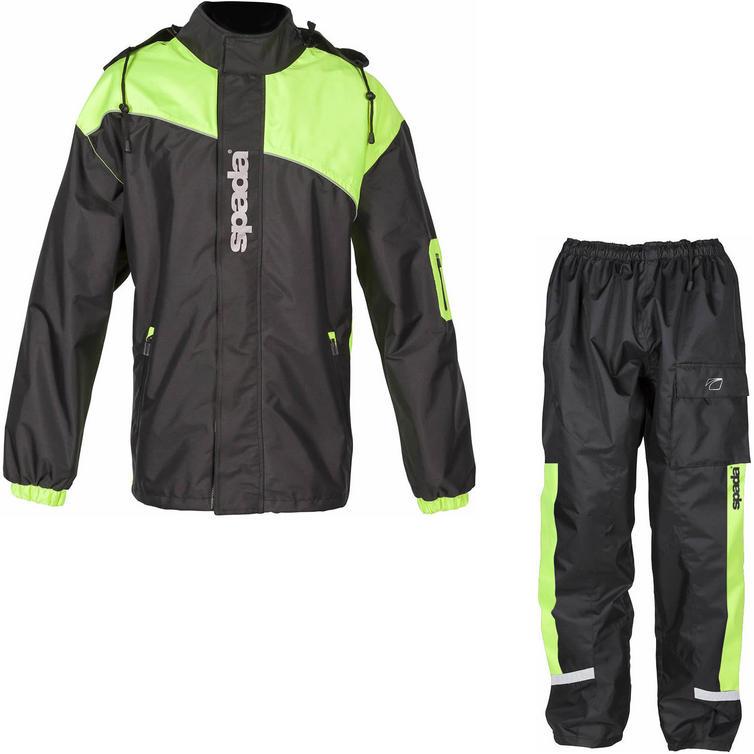 Motorcycles Spada Aqua Brite Motorcycle Over Jacket & Trousers Black Flo Kit