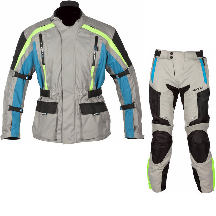 Spada Turini Motorcycle Jacket & Trousers Platinum Blue Kit