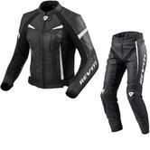 Rev It Xena 2 Ladies Leather Motorcycle Jacket & Trousers Black White Kit
