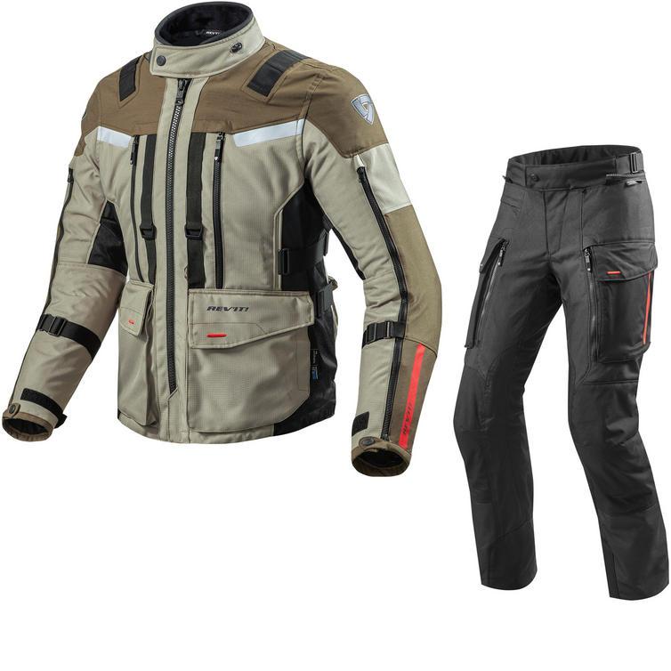 Rev It Sand 3 Motorcycle Jacket & Trousers Sand Black Kit