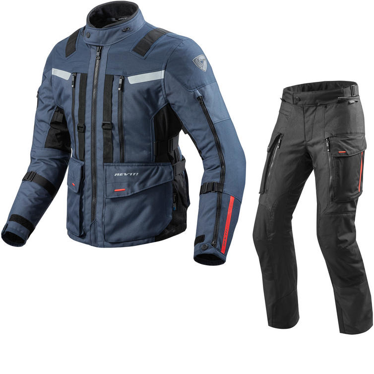 Rev It Sand 3 Motorcycle Jacket & Trousers Dark Blue Black Kit