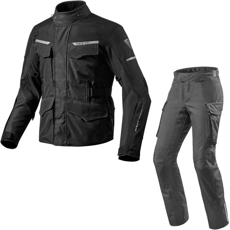 Rev It Outback 2 Motorcycle Jacket & Trousers Black Kit