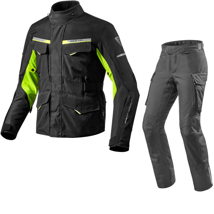 Rev It Outback 2 Motorcycle Jacket & Trousers Black Neon Yellow Kit