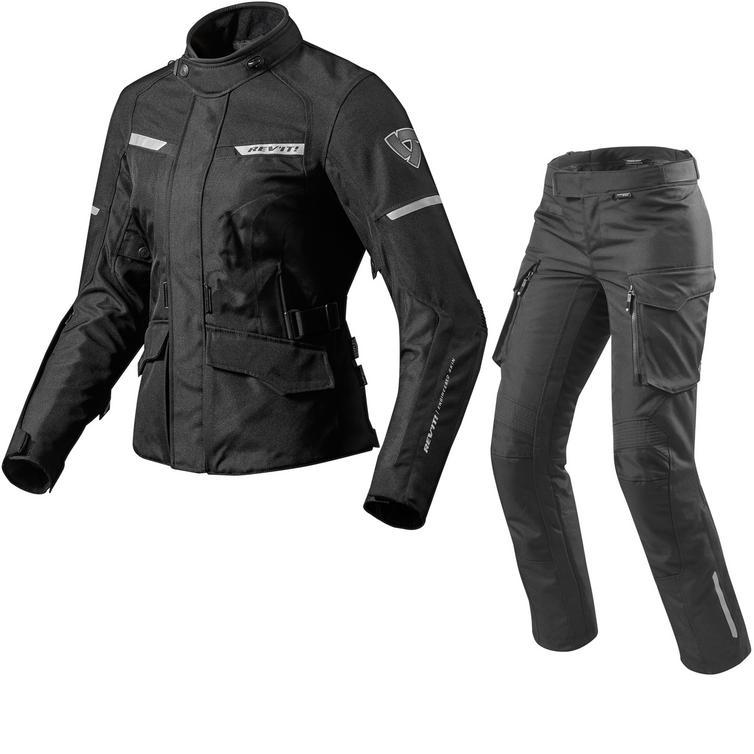 Rev It Outback 2 Ladies Motorcycle Jacket & Trousers Black Kit
