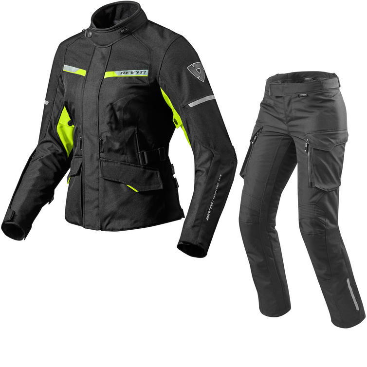 Rev It Outback 2 Ladies Motorcycle Jacket & Trousers Black Neon Yellow Kit