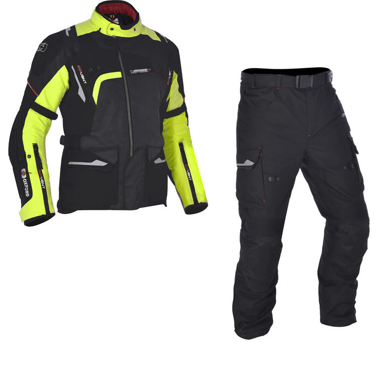 Oxford Montreal 2.0 Motorcycle Jacket & Trousers Black Fluo Kit