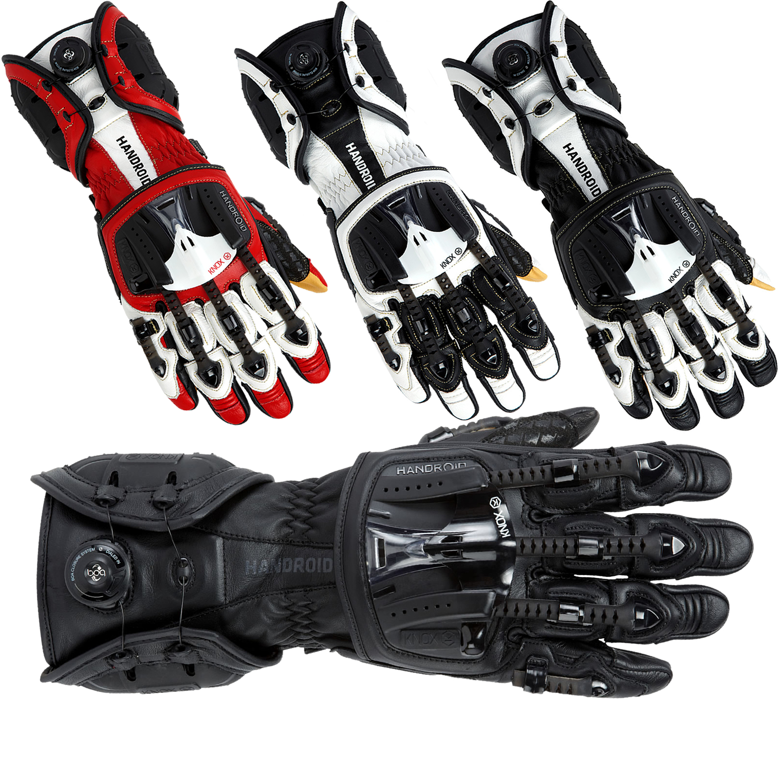 Motorcycle gloves exoskeleton - Knox Handroid Mkiii Leather Motorcycle Gloves