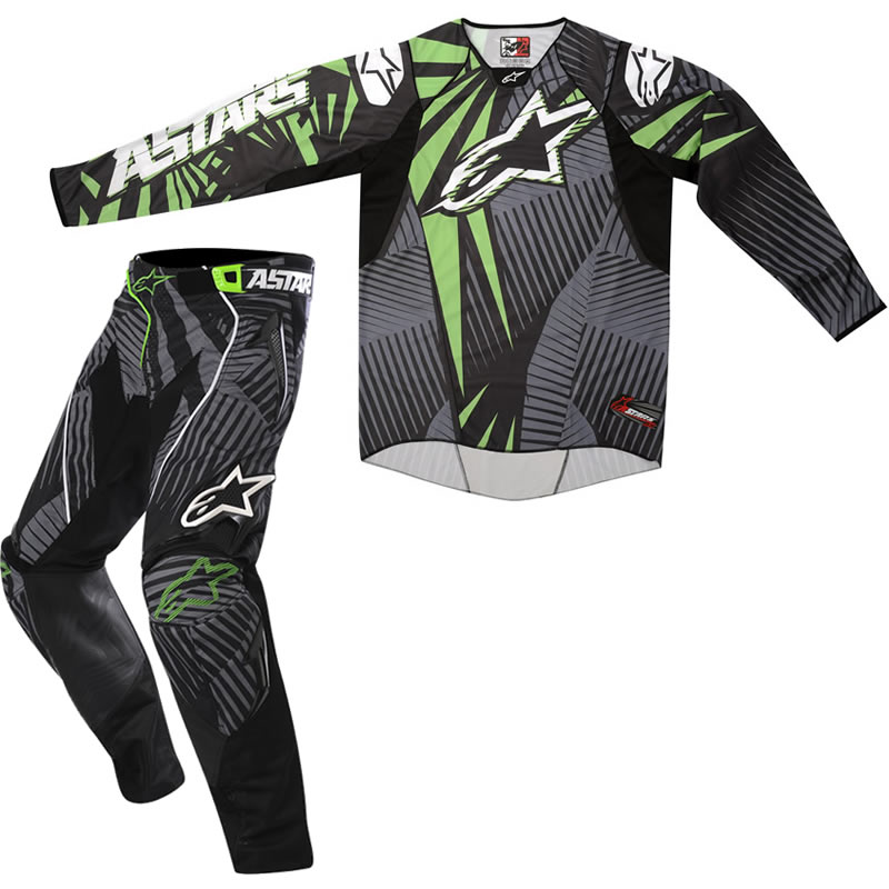 ALPINESTARS 2012 TECHSTAR GREEN MX ENDURO MOTOCROSS JERSEY & PANTS COMBO KIT Enlarged Preview