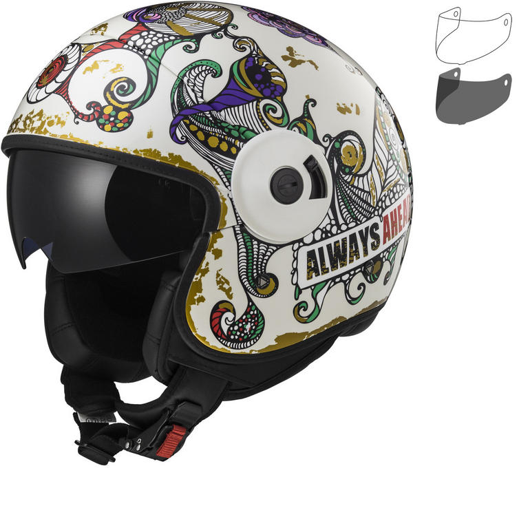 LS2 OF597 Cabrio Flaunt Open Face Motorcycle Helmet & Visor