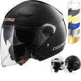 LS2 OF569 Track Solid Open Face Motorcycle Helmet & Visor