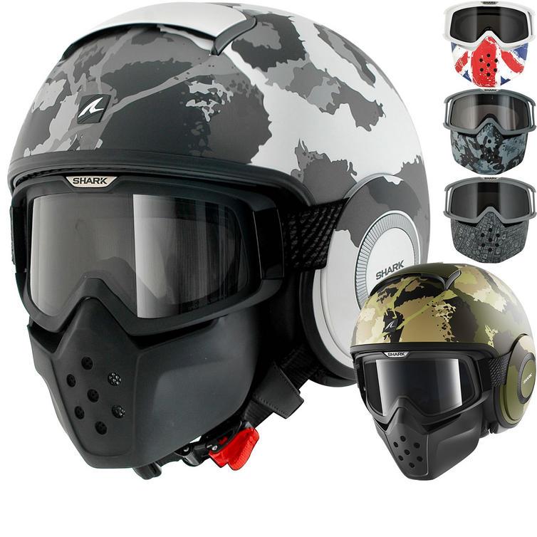 Shark Drak Kurtz Open Face Motorcycle Helmet with Goggle & Mask Kit