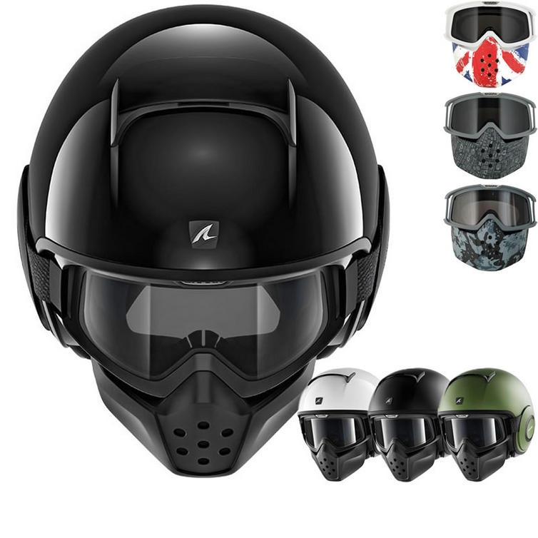 Shark Drak Blank Open Face Motorcycle Helmet with Goggle & Mask Kit