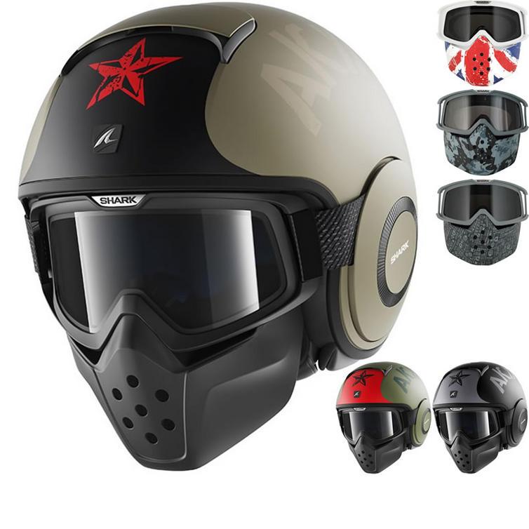 Shark Drak Soyouz Open Face Motorcycle Helmet with Goggle & Mask Kit