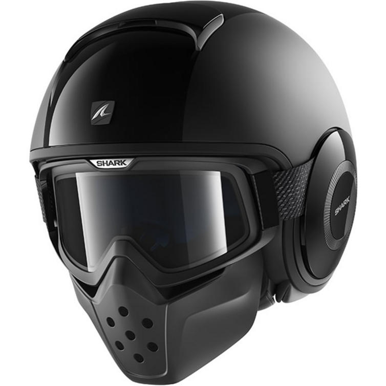 Shark Drak Dual Black Open Face Motorcycle Helmet with Goggle & Mask Kit