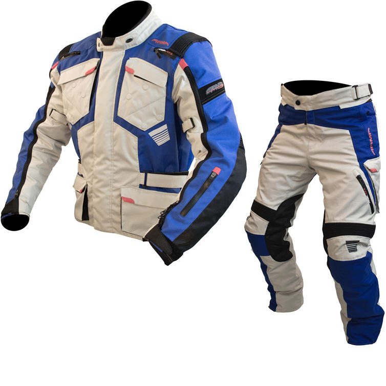 ARMR Moto Tottori Evo 2 Motorcycle Jacket & Trousers Stone Blue Kit