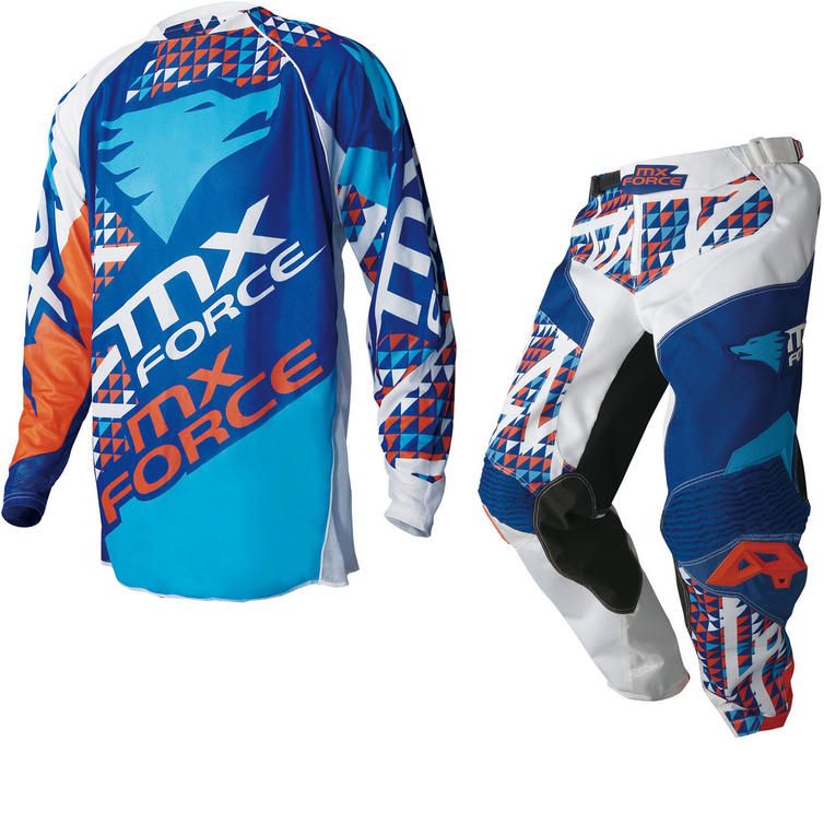 MX Force Kalos Trump Motocross Jersey & Pants Blue Kit