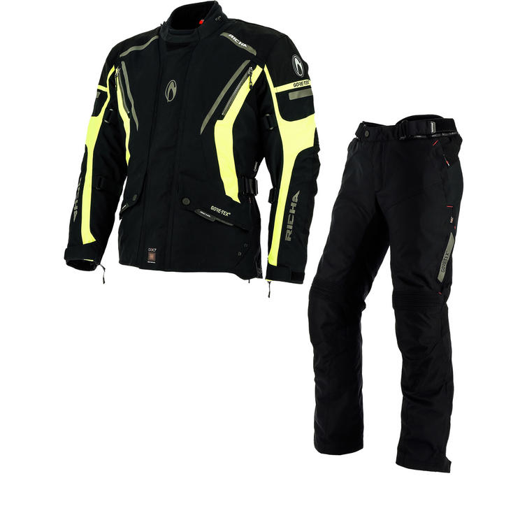 Richa Cyclone GTX Motorcycle Jacket & Trousers Fluo Yellow Black Kit