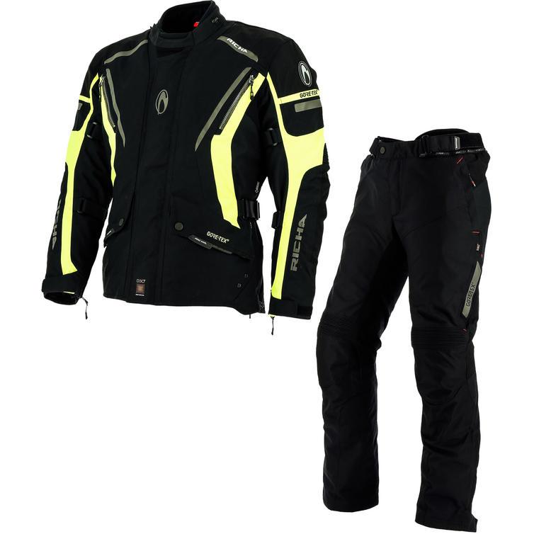 Richa Cyclone GTX Motorcycle Jacket & Trousers Fluo Yellow Black Kit