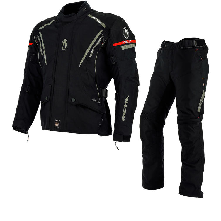 Richa Cyclone GTX Motorcycle Jacket & Trousers Black Kit
