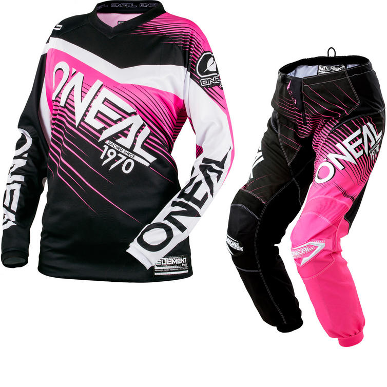 Oneal Element 2018 Racewear Ladies Motocross Jersey & Pants Black Pink Kit
