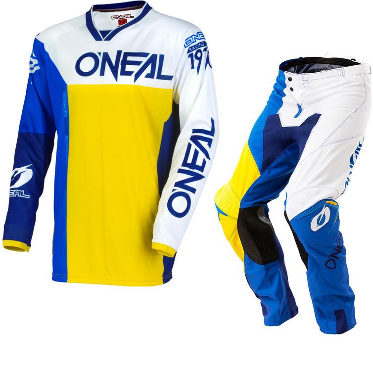 Oneal Mayhem Lite 2018 Split Motocross Jersey & Pants Blue Yellow Kit