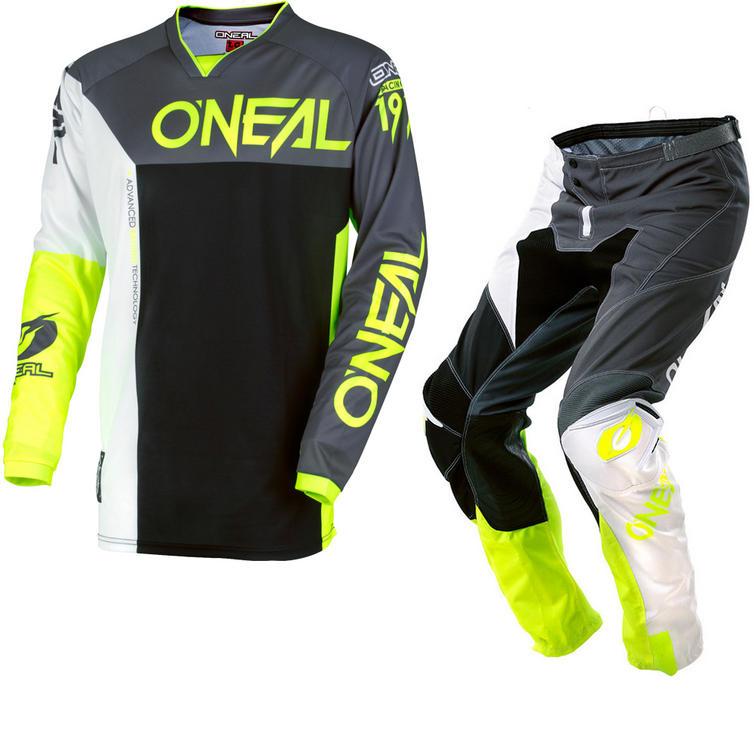 Oneal Mayhem Lite 2018 Split Motocross Jersey & Pants Gray Hi-Viz Kit