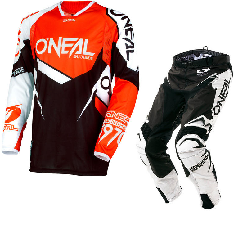 Oneal Hardwear 2018 Flow True Motocross Jersey & Pants Orange White Black Kit