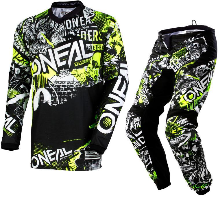 Oneal Element 2018 Attack Motocross Jersey & Pants Black Hi-Viz Kit