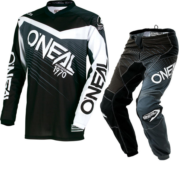 Oneal Element 2018 Racewear Motocross Jersey & Pants Black Gray Kit
