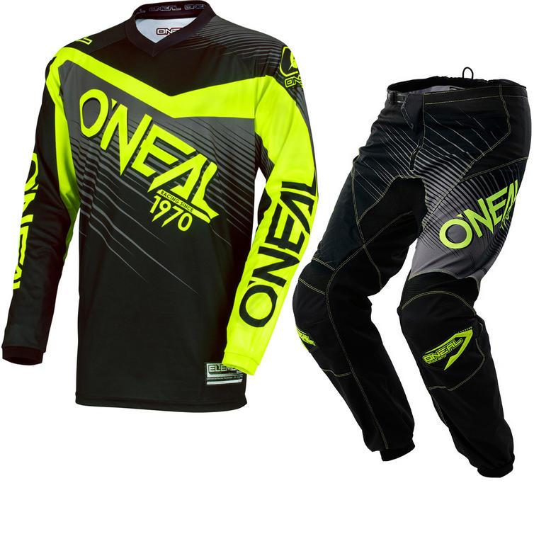 Oneal Element 2018 Racewear Motocross Jersey & Pants Black Hi-Viz Kit