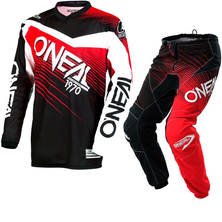 Oneal Element 2018 Racewear Motocross Jersey & Pants Black Red Kit