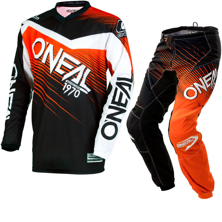 Oneal Element 2018 Racewear Motocross Jersey & Pants Black Orange Kit