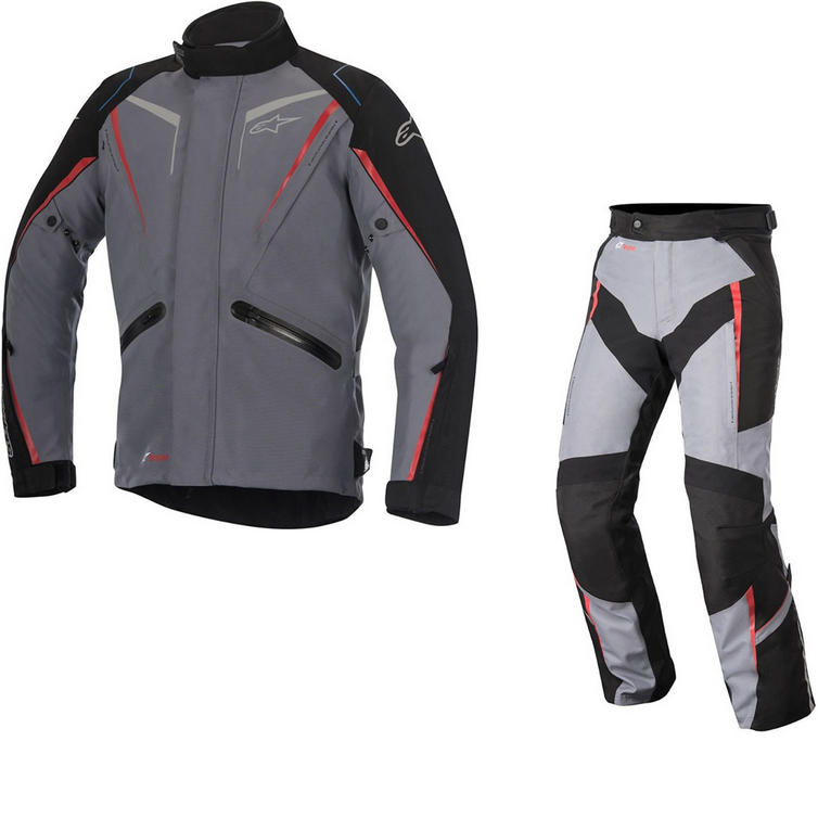 Alpinestars Yokohama DryStar Motorcycle Jacket & Trousers Grey Black Red Kit