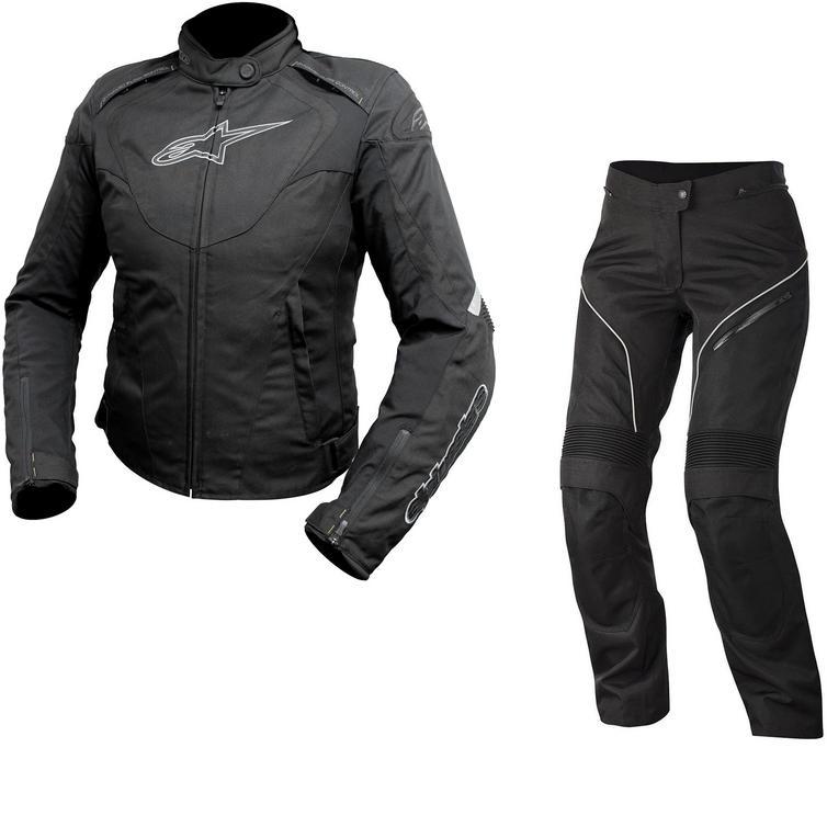 Alpinestars Stella T-Jaws WP Jacket & Stella AST-1 WP Trousers Ladies Motorcycle Black Anthracite/Black White Kit