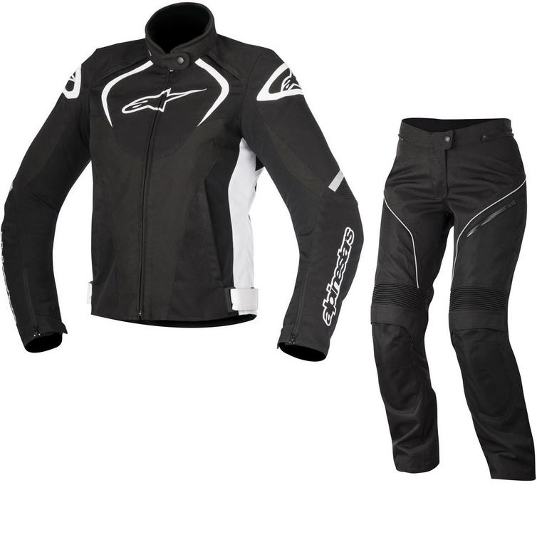 Alpinestars Stella T-Jaws WP Jacket & Stella AST-1 WP Trousers Ladies Motorcycle Black White Kit