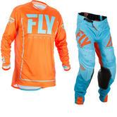 Fly Racing 2018 Lite Hydrogen Motocross Jersey & Pants Orange Blue Kit