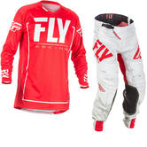Fly Racing 2018 Lite Hydrogen Motocross Jersey & Pants Red Grey Kit