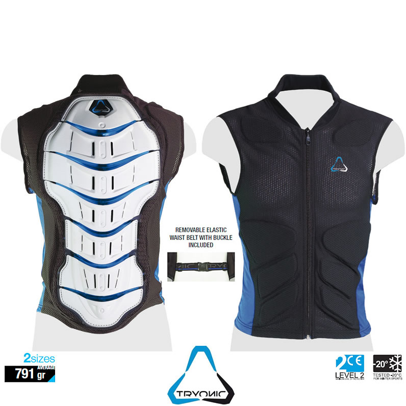 tryonic feel 3 7 gilet veste protection dorsal armure ce2 moto scooter sky corps ebay. Black Bedroom Furniture Sets. Home Design Ideas