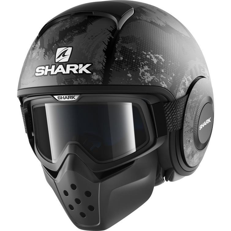 Shark Drak Evok Open Face Motorcycle Helmet with Goggle & Mask Kit