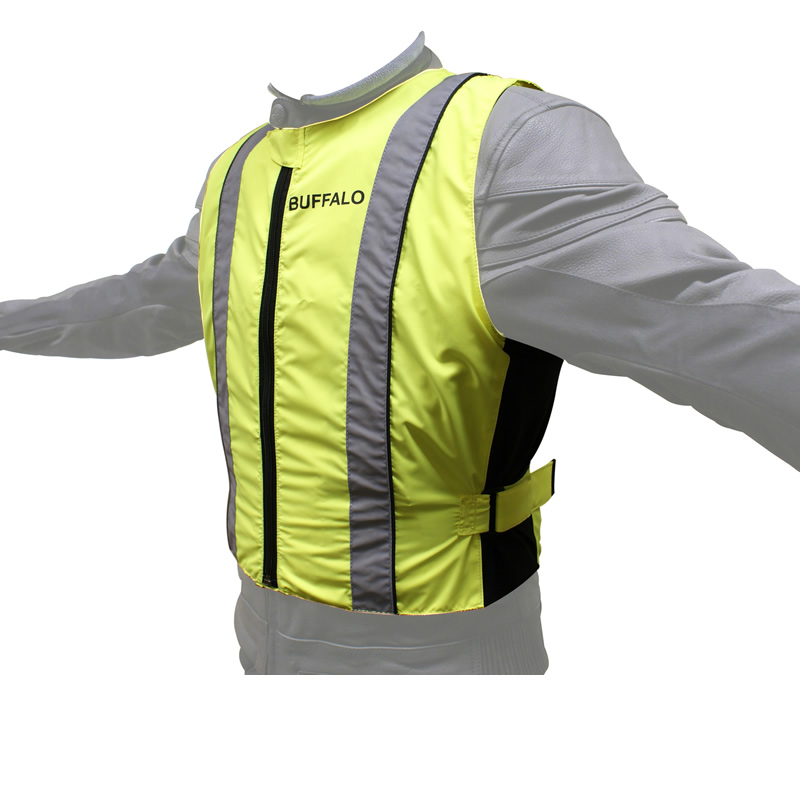 BUFFALO HI-VIZ REFLECTIVE FLUORESCENT SAFETY MOTORCYCLE OVER JACKET GHOST BIKES Enlarged Preview