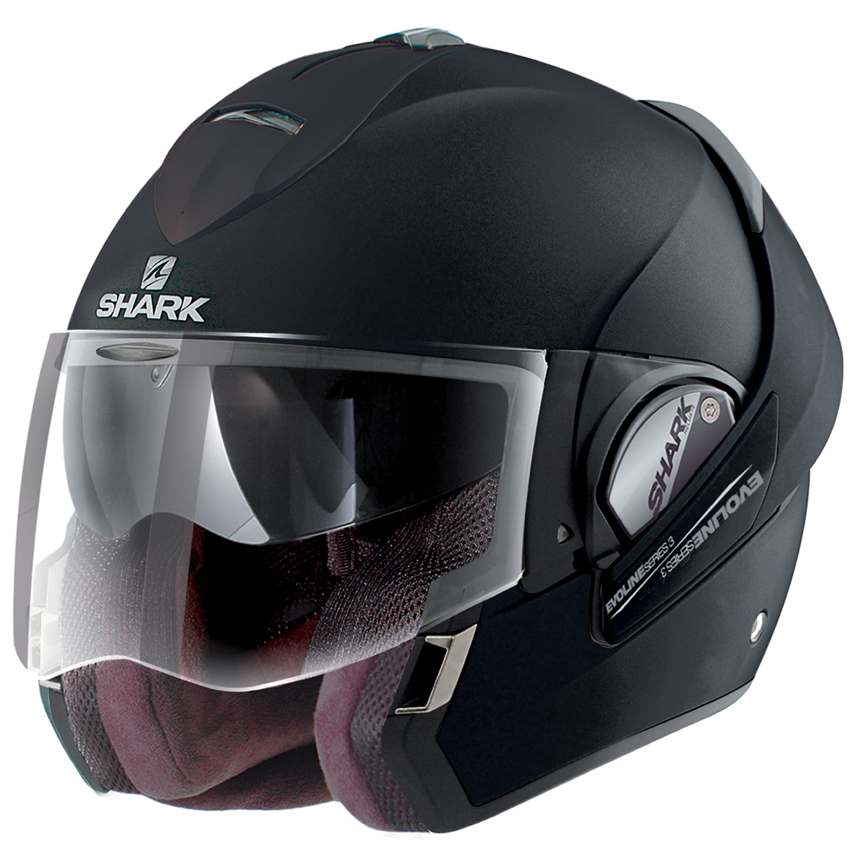 shark evoline series 3 st fusion mat matt black motorcycle helmet flip up front ebay. Black Bedroom Furniture Sets. Home Design Ideas