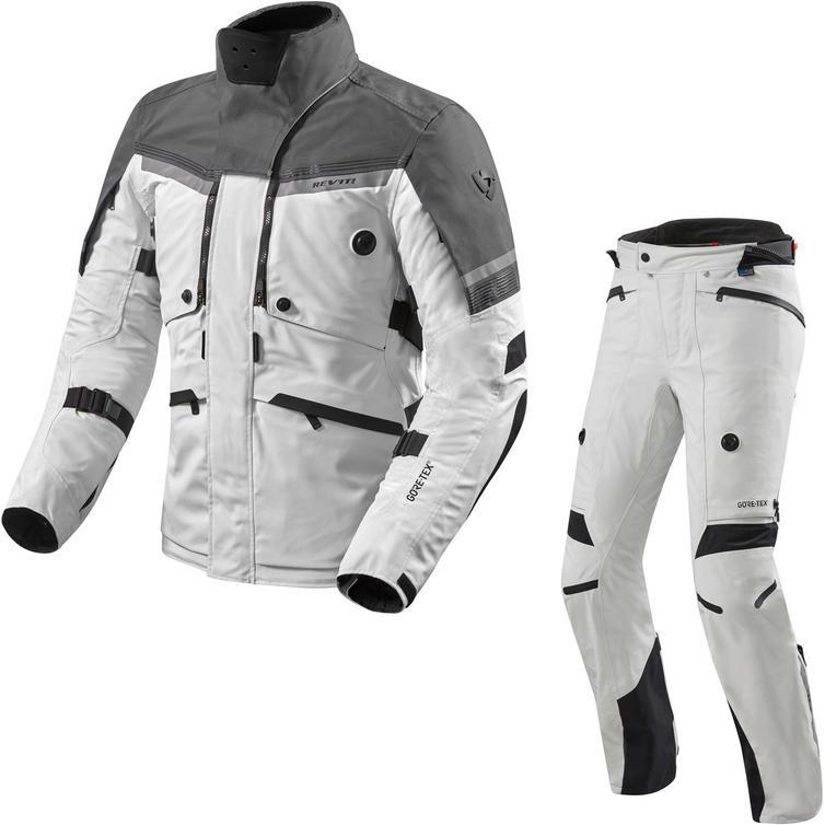 Rev It Poseidon 2 GTX Motorcycle Jacket & Trousers Silver Anthracite Silver Black Kit
