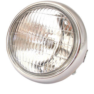 View Item Bike It Universal Motorcycle Chrome Headlight